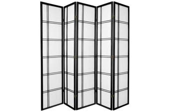Cross Room Divider Screen Black 5 Panel