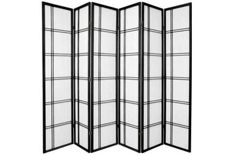 Cross Room Divider Screen Black 6 Panel