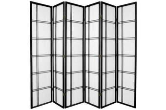 Cross Room Divider Screen Black 6 Panel