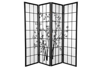 Zen Garden Room Divider Screen Black 4 Panel