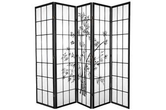 Zen Garden Room Divider Screen Black 5 Panel