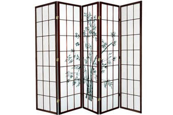 Zen Garden Room Divider Screen Brown 5 Panel