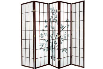 Zen Garden Room Divider Screen Brown 5 Panel