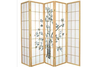 Zen Garden Room Divider Screen Natural 5 Panel
