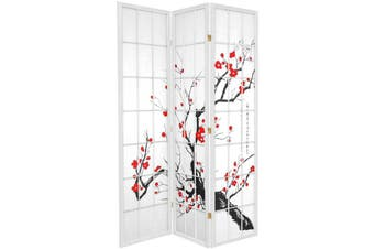 Cherry Blossom Room Divider Screen White 3 Panel