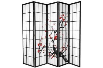 Cherry Blossom Room Divider Screen Black 5 Panel