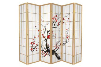 Cherry Blossom Room Divider Screen Natural 6 Panel