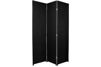 Woven Room Divider Screen Black 3 Panel