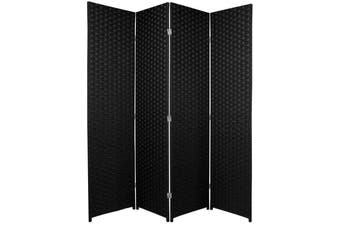 Woven Room Divider Screen Black 4 Panel