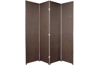 Woven Room Divider Screen Brown 4 Panel