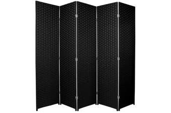 Woven Room Divider Screen Black 5 Panel