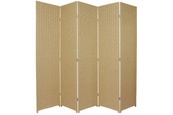 Woven Room Divider Screen Beige 5 Panel