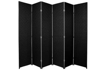 Woven Room Divider Screen Black 6 Panel