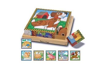 Create 6 Pet Scenes 16pcs Wooden Cube Puzzle