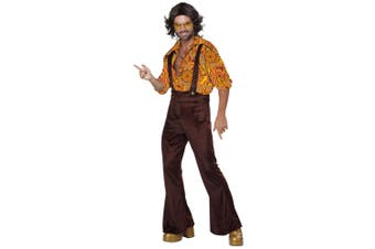 Jive Talk in Disco Dude 1970s 1960s Overalls Hippie Hippy Groovy Mens Costume