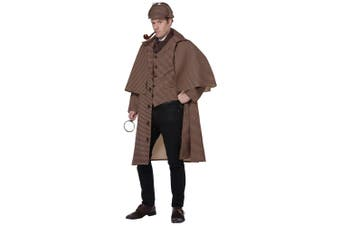 English Detective Sherlock Holmes Private Inspector TV Movie Deluxe Mens Costume