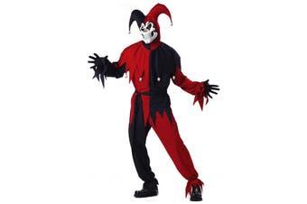 Evil Jester Mardi Gras Red Black Halloween Men Costume Plus