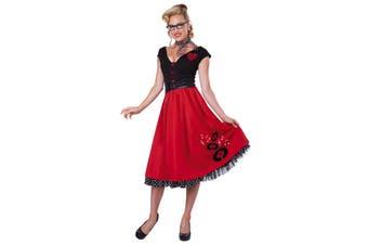 Rock N Roll Sweetheart 50s 60s Grease Red Women Costume