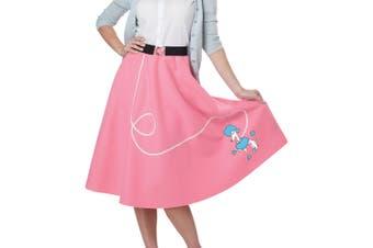 50s Poodle Grease Sock Hop Bopper Rock N Roll Womens Costume Pink Skirt