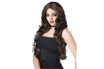 Celebrity Glam Long Wavy Glamour Brown Brunette Womens Costume Wig