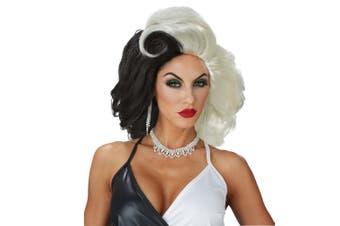 Cruel Diva Cruella de Vil 101 Dalmatians Villain Cartoon Womens Costume Wig