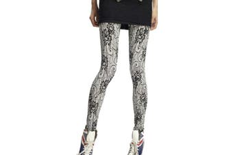 Black White Floral Classic Ladies Footless Leggings New