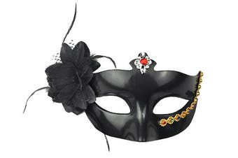 Black Flower Topped with Jewel Masquerade Mask