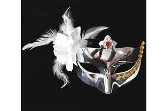 Metalic Finish Silver Feather Masquerade Mask w/ Jewel
