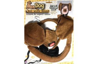 Dog Animal Set Ear Nose Tail Choker Book Week Boys Girls Costume Kit with Sound
