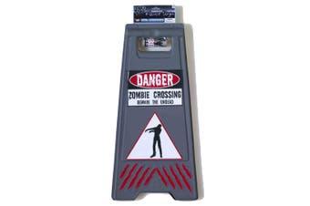Zombie Warning Danger Floor Parking Sign with Tape Halloween Party Costume Prop