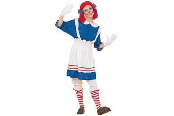 Rag Doll Girl Raggedy Anne Storybook Halloween Women Costume One Size