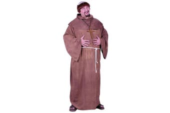 Medieval Monk Robe Friar Tuck Robin Hood Religious Mens Costume & Wig Plus Size
