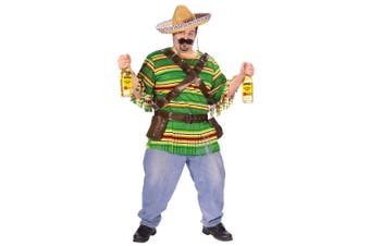 Tequila Poppin Dude Mexican Spanish Gunslinger Men Costume Plus