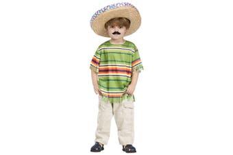 Little Amigo Mexican Spanish Serape Sombrero Mustache Boys Costume Set 3T-4T