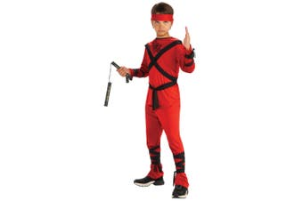 Red Dragon Ninja Stealth Assassin Japanese Warrior Book Week Boys Costume