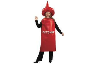 Ketchup Bottle Red Tomato Sauce Condiment Funny Food Adult Womens Mens Costume