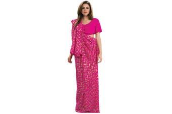 Indian India Deluxe Pink National Dress Sari Bollywood Women Costume STD