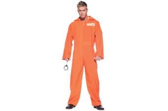Orange Prison Jumpsuit Jailbird Prisoner Convict Criminal Inmate Men Costume OS