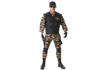 Seal Team Deluxe Military Army Soldier Police Uniform Mens Costume Plus XXL