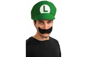 Super Mario Luigi Hat Moustache Adult Deluxe Costume Kit