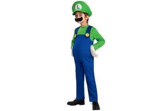 Luigi Deluxe Super Mario Bros Video Game Plumber 1980s Cartoon Boys Costume