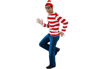 Wally Red White Striped Shirt Glasses Hat Story Book Week Men Costume Kit