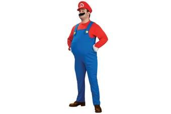 Super Mario Deluxe Video Game Plumber Party 1980s Cartoon Men Costume