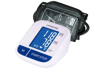Lifesense Digital Upper Arm Blood Pressure monitor large cuff with blue backlight screen
