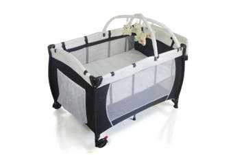 BABY PORTABLE TRAVEL COT BASSINET FOLDABLE PLAYPEN PORTACOT Black