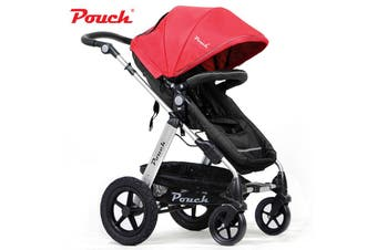 Pouch 2 IN 1 BABY TODDLER PRAM STROLLER JOGGER ALUMINIUM WITH BASSINET red colour