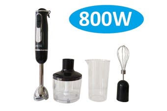 800W Stainless Steel Portable Stick Hand Blender Mixer Food Processor Set