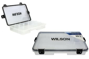 Small Wilson Waterproof Fishing Tackle Tray with Rubber Seal and Locking Clasps