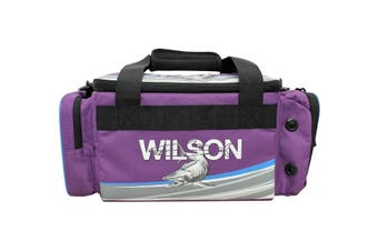 Wilson Small Purple Fishing Tackle Bag with 4 Tackle Boxes and Multiple Pockets