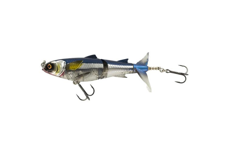 Chasebait Lures Drunken Mullet 130mm Offset Pop Tail Fishing Lure - Blue Bait